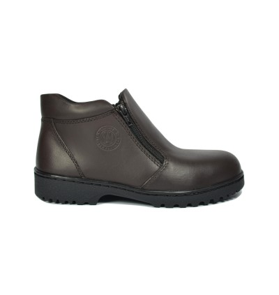 Walk About® Men Double Zip-up Safety boots with Waxed buffalo leather (6909 Brown 031 SB P HRO)