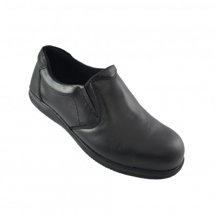 Walk About® Slip-on Executive Safety shoes with Soft Cow Leather (3908 18 SB P HRO Black 18)