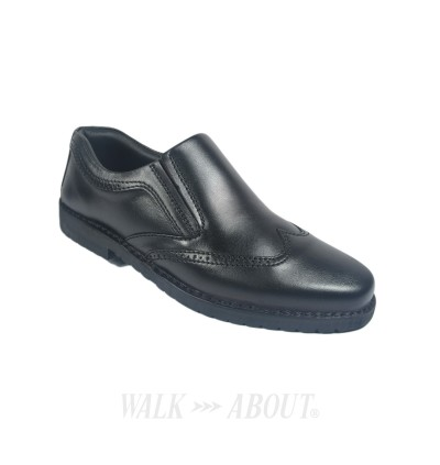 Walk About® Slip-on Retro Shoes with Genuine Soft Cow Leather (123 Black 18)