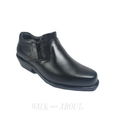 Walk About® Double Zip-up Cowboy Shoes with Genuine Soft Cow Leather (3600 Black 18)