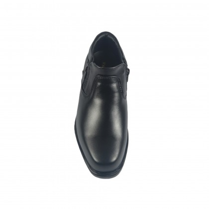 Walk About® Men Double Zip-up Cowboy Shoes with Genuine Soft Cow Leather (3600 Black 18)