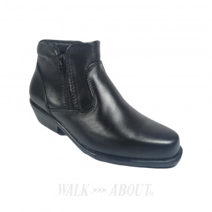 Walk About® Men Double Zip-up Cowboy Boots with Genuine Soft Cow Leather (3602 Black 18)