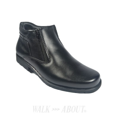 Walk About® Double Zip-up Boots with Genuine Soft Cow Leather (912 049 Black 18)