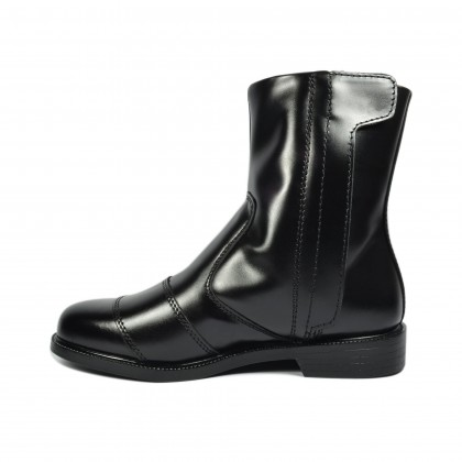 Walk About® Single Zip-up Riding Boots with Smooth Cow Leather (388 Black 06)