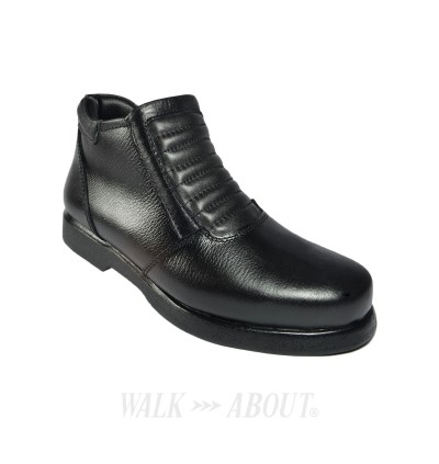 Walk About® Men Single Zip-up Riding Boots with Rugged Buffalo Leather (806 Black 039)