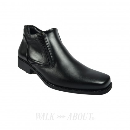 Walk About® Men Double Zip-up Boots with Genuine Soft Cow Leather (921 560 Black 18)