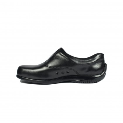 Walk About® Men Slip-on Driving Shoes with Genuine Soft Cow Leather (1900 Black 18)